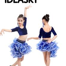 Платье для латиноамериканских танцев для девочек Танго юбка Бальные Танцы платье ребенок одежда для соревнований детские танцевальные костюмы из вельвета