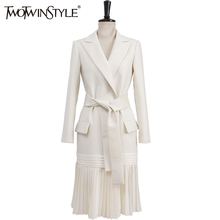 TWOTWINSTYLE 2017 Women's Blazers Lace Up Tunic Cardigan Overcoat Pleated Pocket White Long Big Size Windbreaker Fashion Clothes