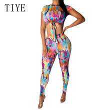 TIYE 2 Piece Sets New Tie Dyed Print Jumpsuits Elegant O Neck Short Sleeve Lace-up Top and Bodycon Pants Women Summer Bodysuits