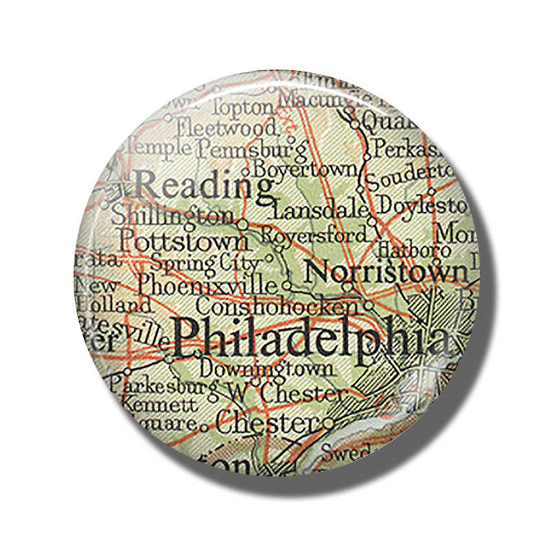Philadelphia Map Fridge Magnet Pennsylvania Reading Glass Cabochon Magnetic Refrigerator Stickers Note Holder Home Decoration