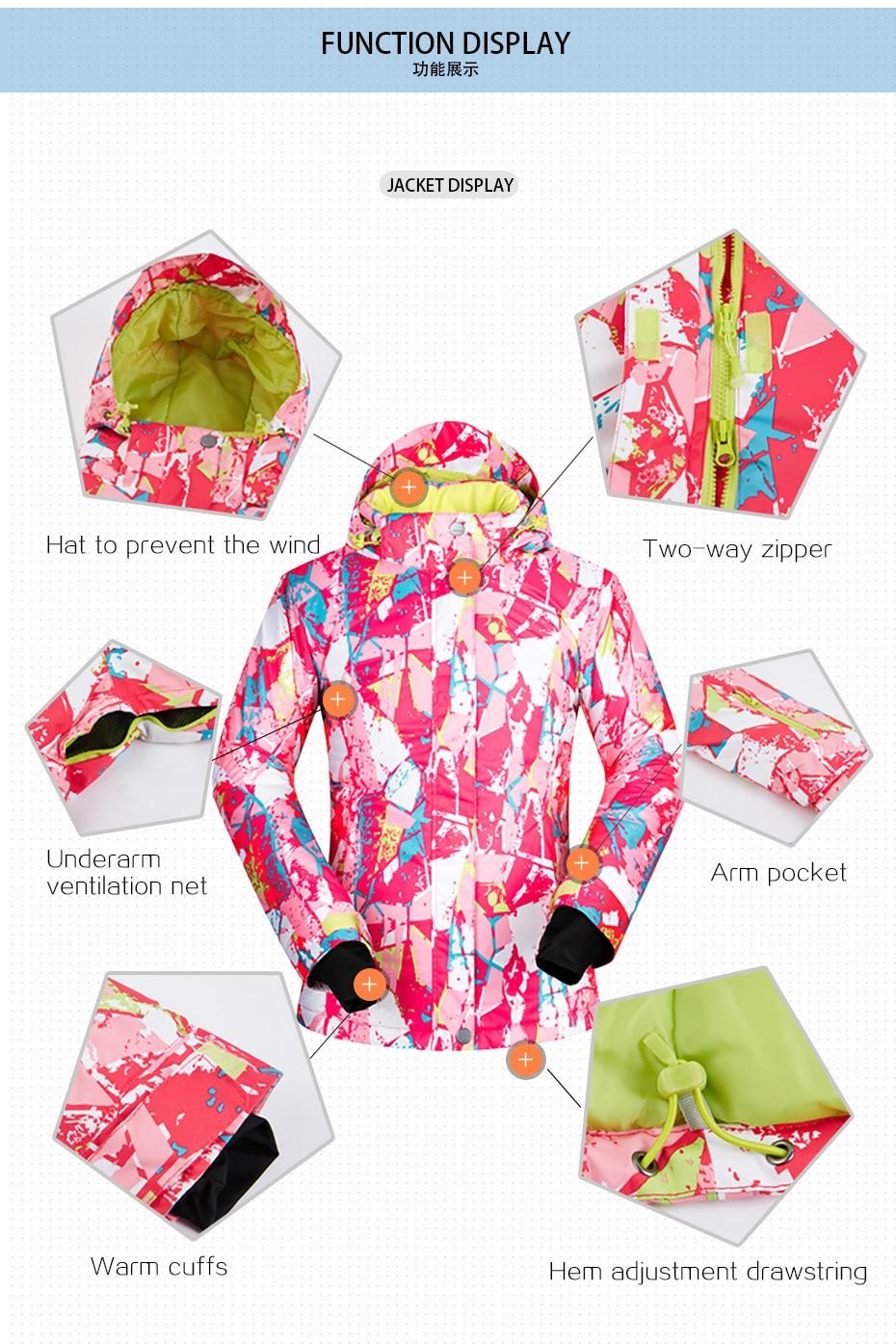 -35 degrés femmes veste de Ski Snowboard vêtements Sports de plein air Treking coupe-vent imperméable porter des vêtements d'hiver femme manteau de Ski - 4