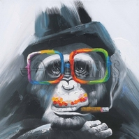 Hand Painted Monkey Oil Painting On Canvas For Living Room Decoration