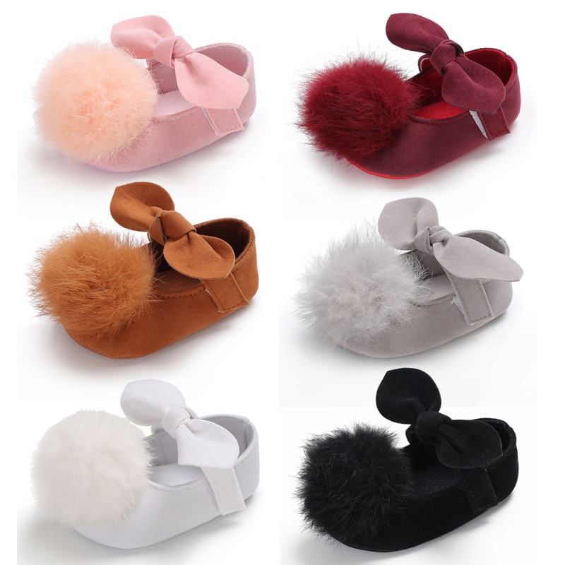 2018Baby Shoes Sweet Infant Toddler Prewalkers Girl Princess Hair Ball First Walkers Pram Crib Bebe Shoes Mary Jane