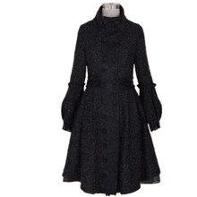 Зимнее Модное Элегантное винтажное Женское шерстяное пальто с рукавом-фонариком винтажное черное двубортное шерстяное пальто