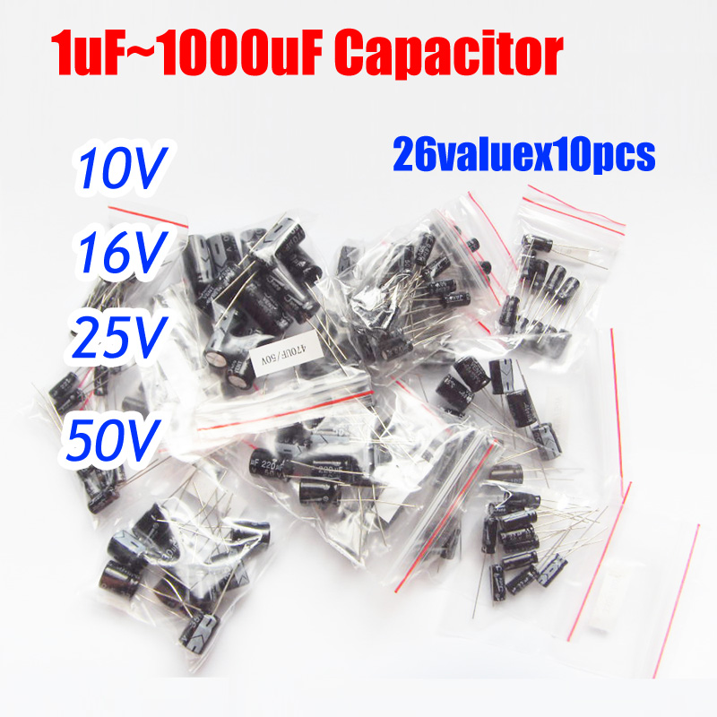 26valuesx10pcs=260pcs 10v/16v/25v/<font><b>50v</b></font> Aluminum Electrolytic Capacitor Assortment Kit 1uF -<font><b>1000uF</b></font> image