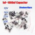 Frete Grátis 26valuesx10pcs = 260 pcs 10 v/16 v/25 v/50 v Alumínio Capacitor Eletrolítico variedade Kit 1 uF-1000 uF
