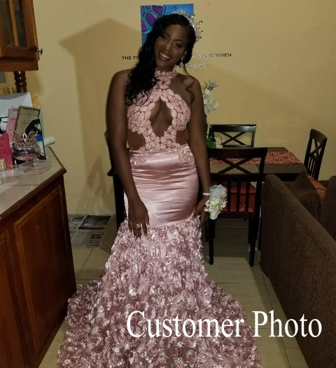 Image 5 - Sexy Black Girls Mermaid High Neck Dusty Pink Prom Dresses 2019 Cut out Top Beaded Sequined Long Formal Evening Party Gowns-in Prom Dresses from Weddings & Events