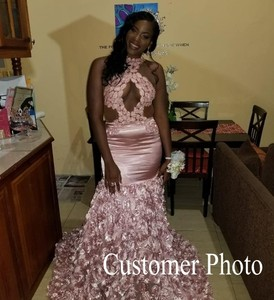 Image 5 - Sexy Black Girls Mermaid High Neck Dusty Pink Prom Dresses 2020 Cut out Top Beaded Sequined Long Formal Evening Party Gowns
