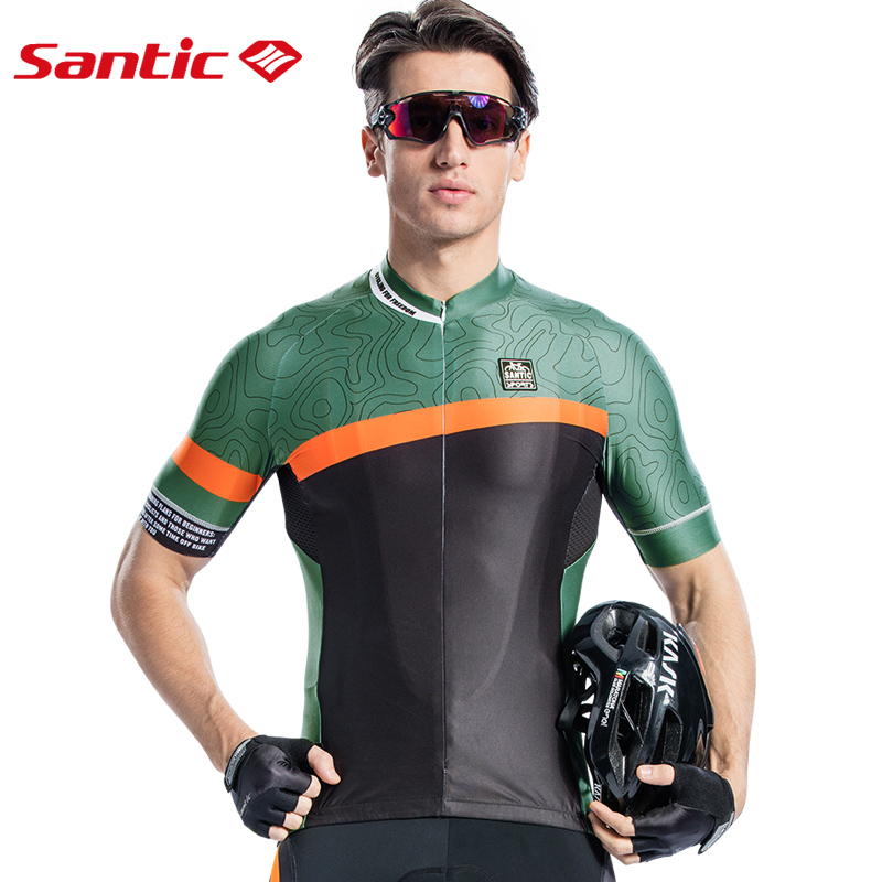 Santic Men Cycling Short Jersey Pro Fit Antislip Sleeve Cuff Road Bike MTB Short Sleeve Breathable Two Colors Asia S-2XL 8C02126