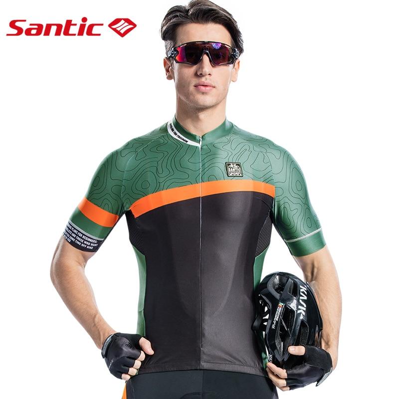 ac6db54b5 Santic Men Cycling Short Jersey Pro Fit Antislip Sleeve Cuff Road Bike MTB Short  Sleeve Breathable Two Colors ...