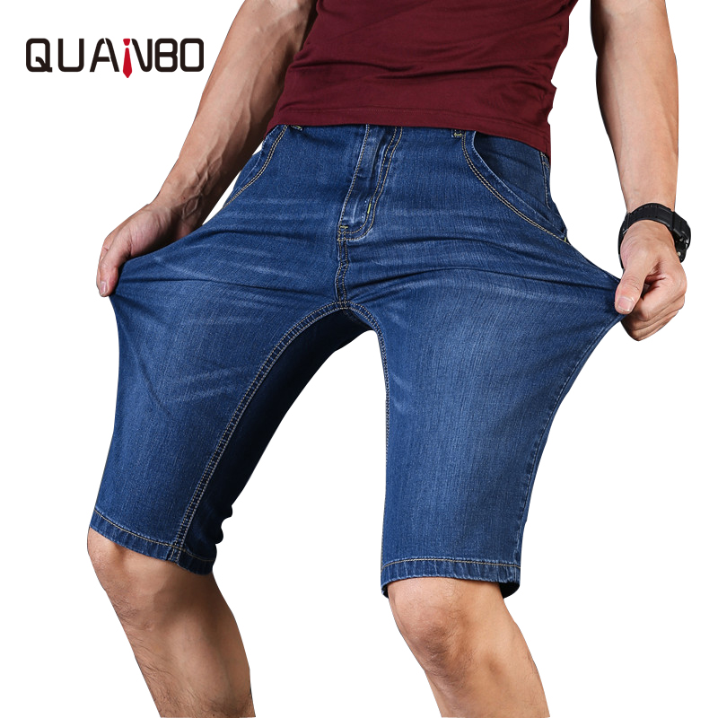 Jeans Shorts Summer Light-Blue Slim-Fit Thin Straight Men Fashion Casual 46 Breathable