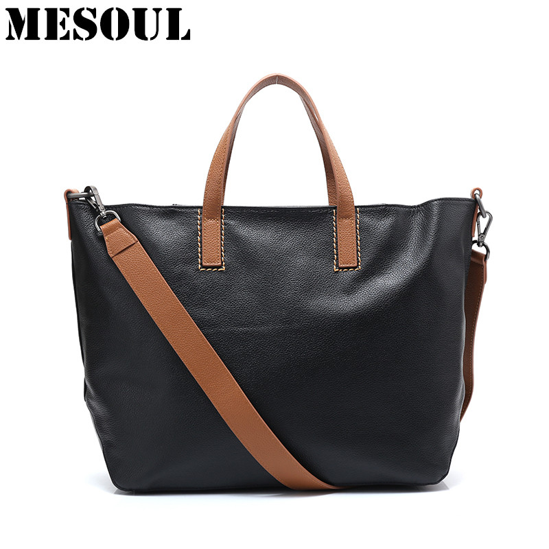 New 100% Genuine Leather Women Handbag Large Shoulder Bags Bolsos Mujer Sac A Main Fashion Famous Brand Designer Tote Female Bag bolsos 2016 women nubuck leather designer handbags high quality famous brand shoulder bag sac a main bolsos mujer hand bags tote