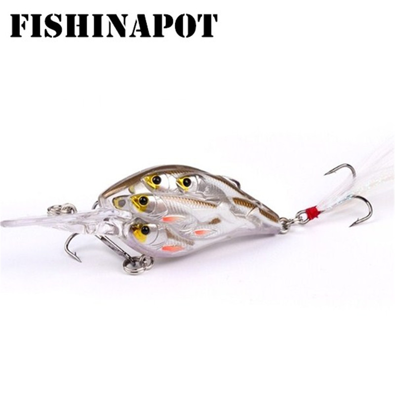 FISHINAPOT 1PCS 8cm 9.4g Crankbait Fishing Lures Minnow Wobbler Group Fish Hard Artificial Bait Bass Pike With FeatherFISHINAPOT 1PCS 8cm 9.4g Crankbait Fishing Lures Minnow Wobbler Group Fish Hard Artificial Bait Bass Pike With Feather