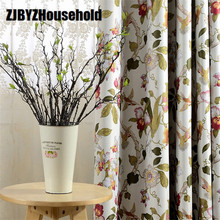 American Pastoral Large Flower Printing Woven High Window Rural Printing Curtains for Of Living Dining Bedroom Precision Shade