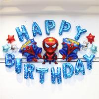 DIY Boys Birthday Party Ideas Spider Man Theme Decoration Blue Series Collection Party Supply For Kids