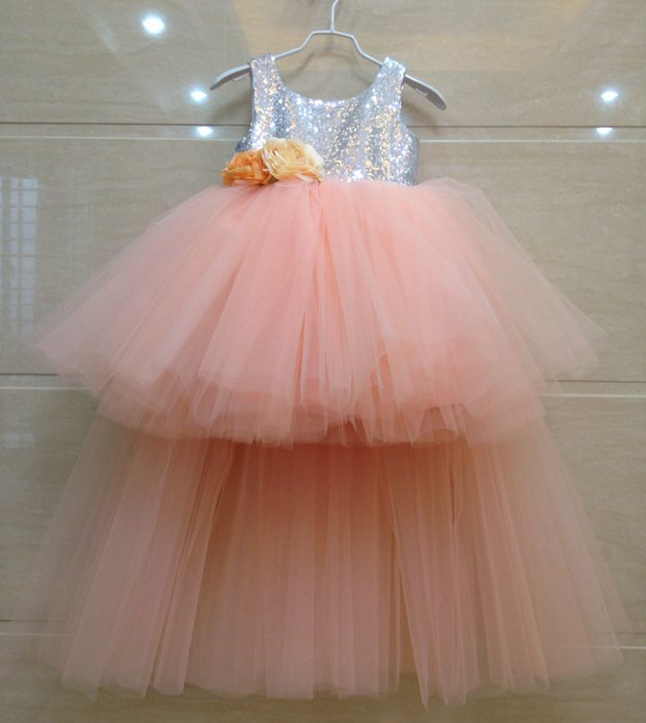 купить Girl's Pageant Princess Dresses 2017 Flower Girls Dresses Sequins V- Neck Gauze Gowns Kids Birthday Party Children Formal Dress дешево