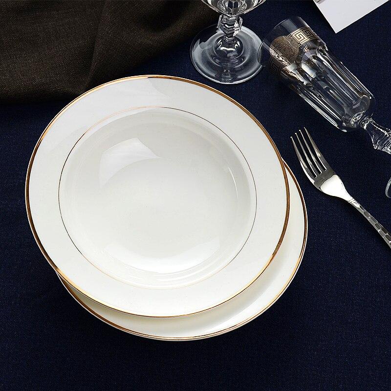 Golden Edge PlateTangshan Bone Porcelain Plate Vegetable Deep Household Large