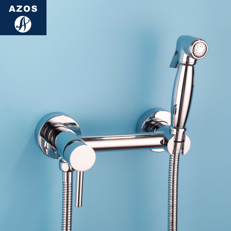 Azos Bidet Faucet Pressurized Sprinkler Head Brass Chrome Cold and Hot Switch Single Function Mop Pond Wash Toilet Round PJPQR00