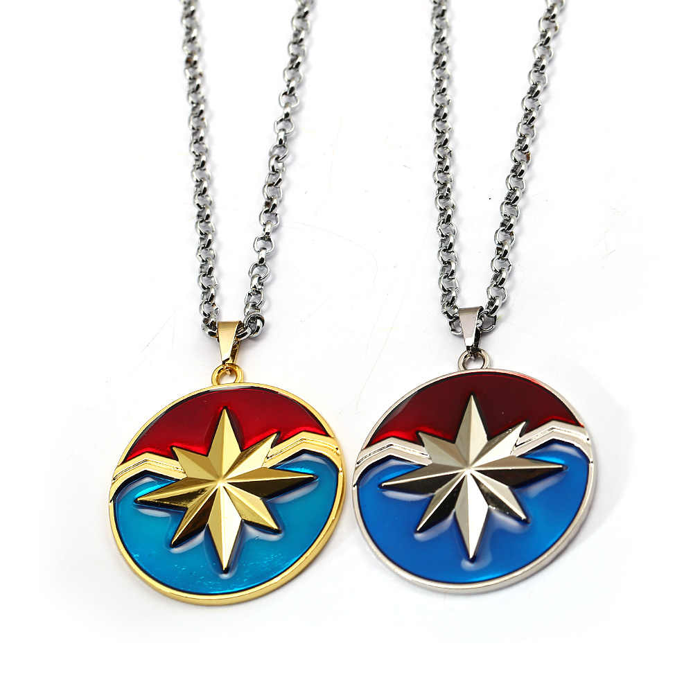 hsic the avengers captain marvel necklace pendant fashion captain shield  metal friendship necklace superhero jewelry 13080