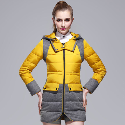 New 2015 Thicken Warm Woman Down Jacket Coats Outerwear Hooded Parka Slim Splice Luxury Brand Overcoats Plus Size 3XXXL H4405 2015 hot new thicken warm woman down jacket coat parkas outerwear luxury hooded fox fur collar long slim cold plus size 4xxxxl