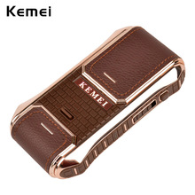 Kemei Portable Electronic Shaver Leather Wrapped Machine Reciprocating for Men's Mustache Facial Shaving Razor Mens Beard Remove
