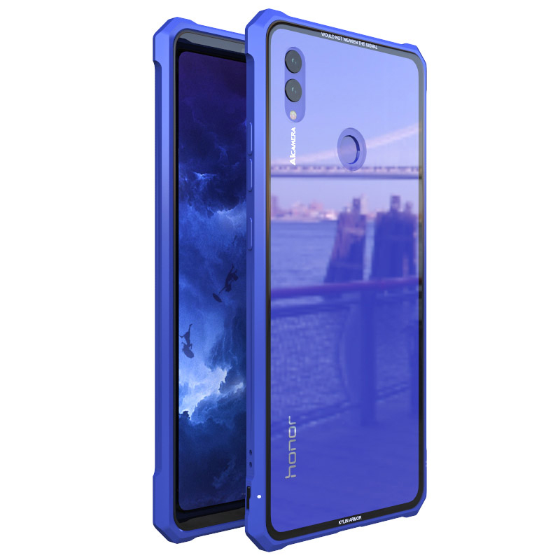 Luxury Metal Cases For Huawei Honor 8x max Case Aluminum Metal Bumper Hard Clear Glass Back Cover For Honor 8x Note10 case Capa iPhone XS