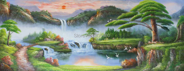 diy natural scenery pictures with sunrise handmade landscape oil