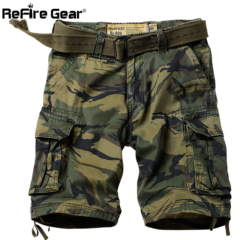 ReFire Gear Military Camouflage Men Many Pockets Army Cargo Shorts Loose Cotton