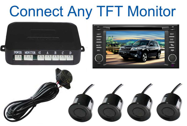 Car Parking System with 4 Sensors visual Car video Parking Sensor Auto parking Connect Car DVD Monitor And Rearview Camera