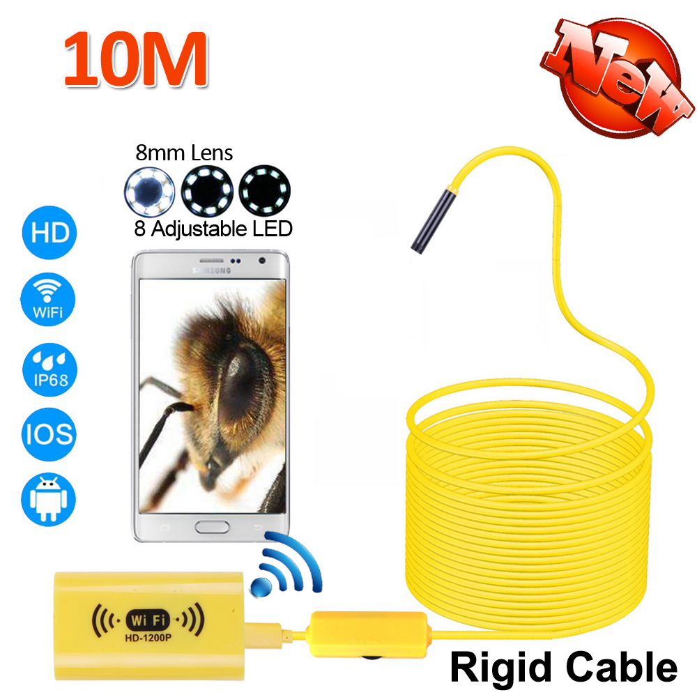 10M Full HD1200P WIFI Endoscope Camera 8mm Android iPhone Snake Rigid Cable Wirless IOS Waterproof Borescope 8LED 2MP USB Camera wireless wifi endoscope mini waterproof semi rigid inspection camera 8mm lens 8led borescope for ios