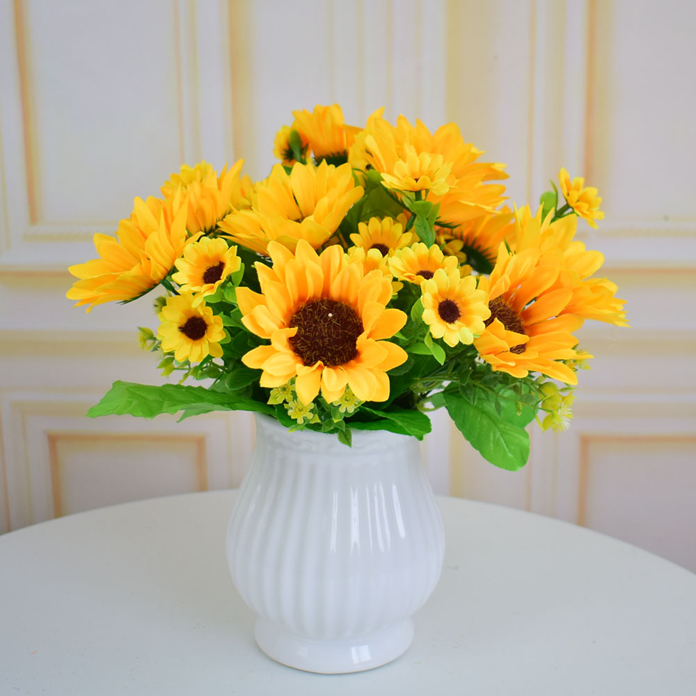 Sunflowers Silk Artificial Flowers Bouquets For Party Home Kitchen