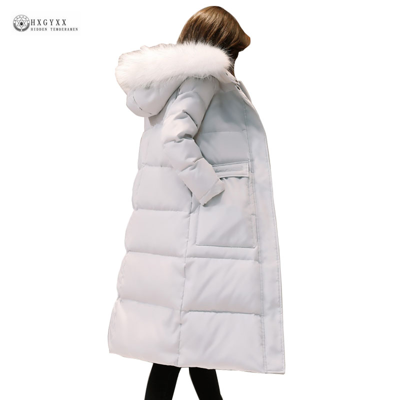 New Long Down Jackets Female Fur Hooded Outerwear Pure Color Women Winter Jacket Fashion Parka Slim