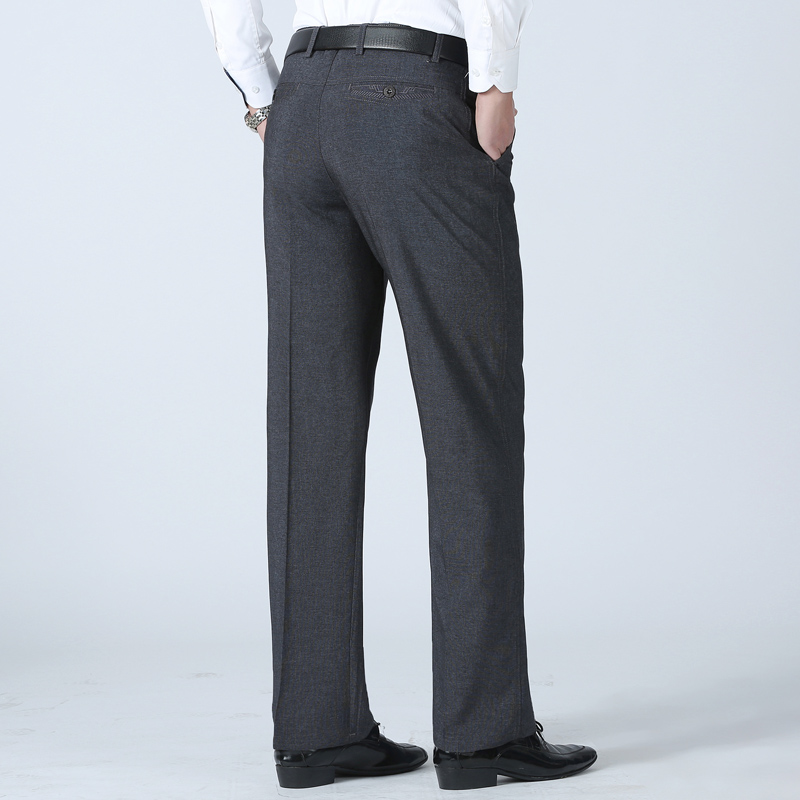High Stretch Elastic Fabric Skinny Slim Cutting Men's Trousers Casual Pants Straight Trousers Summer Trousers Business Formal