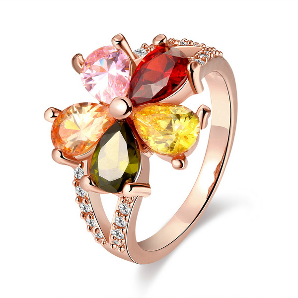 High Quality Rose Gold Color Finger Ring For Lady Women Party With AAA Colorful Cubic Zircon Wedding Jewelry Berlogue