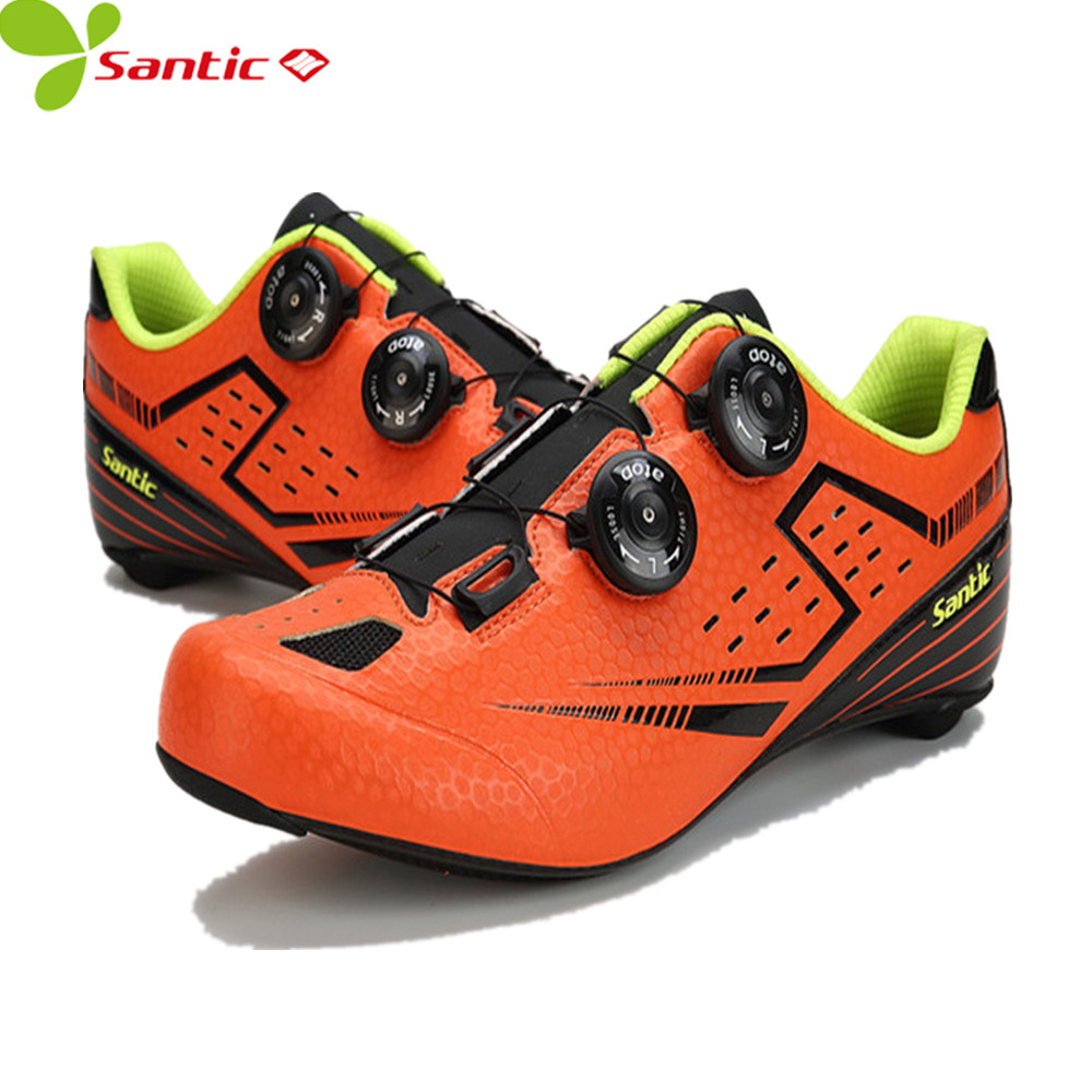Santic Men's Cycling Shoes Carbon Fiber Auto-locking Racing Bicycle mtb Shoes brand Cycling Riding Sneaker off-road bike shoes carbon mtb 650b rims stiffer dh bike part 27 5er 35x25mm wide down hill jumping racing ride excellent cycling parts store online