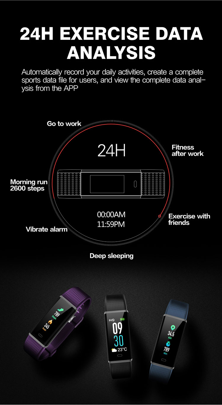 FENTORN Smart Wristbands ID130 Plus Color HR Smart Band Activity Tracker Fitness Smart Bracelet with pedometer for Xiaomi Iphone phones (7)