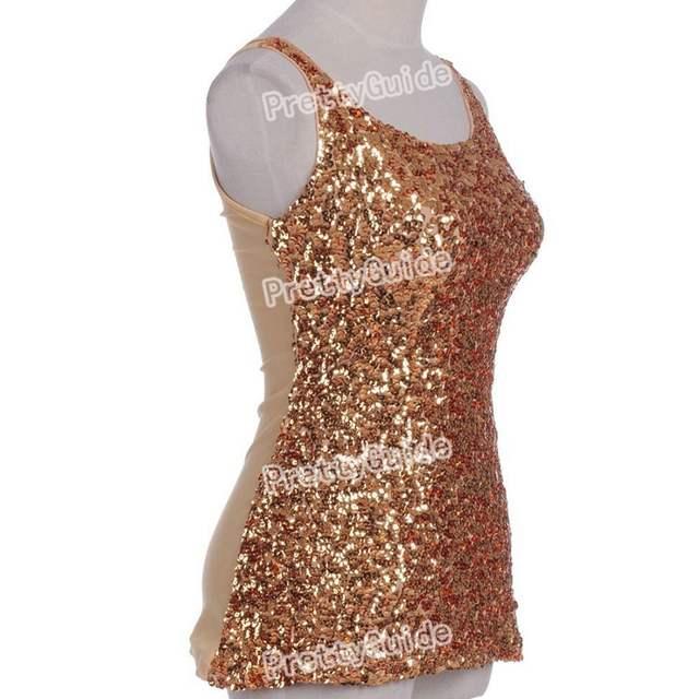 ef3ae470339e69 placeholder PrettyGuide Hot Women Bling Bling Shimmer Shine Glam Sequin  Embellished Crewneck Sparkle Tank Club Top Vest