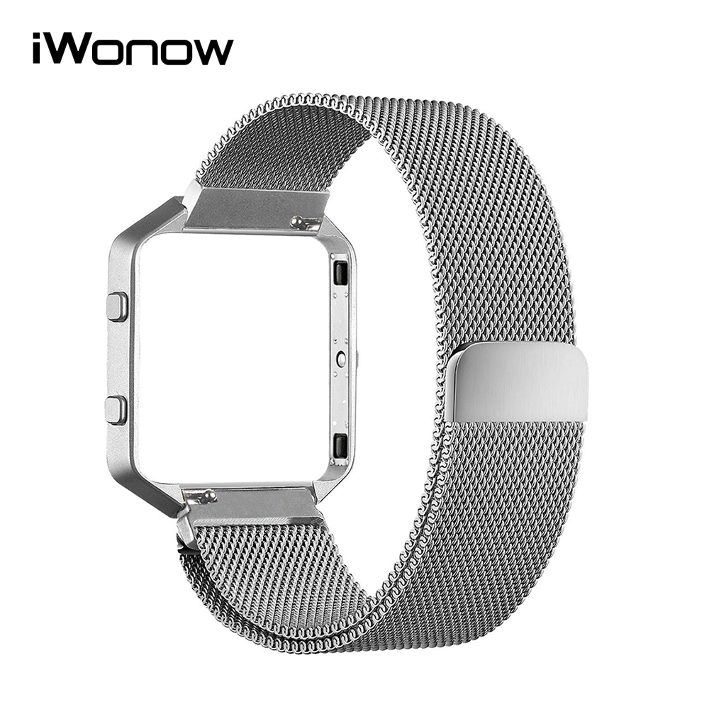 Milanese Loop Watchband + Frame for Fitbit Blaze Watch Band Stainless Steel Strap Magnetic Buckle Wrist Bracelet Black Silver стоимость
