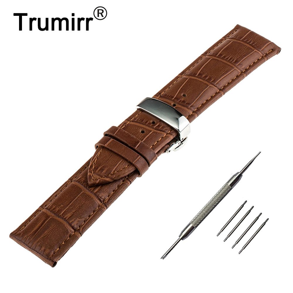 18mm 20mm 22mm Genuine Leather Watch Band for Seiko Stainless Steel Butterfly Buckle Strap Wrist Belt Bracelet Black Brown 18mm genuine leather watchband tool for huawei watch women s smartwatch band wrist strap plain grain belt bracelet black brown
