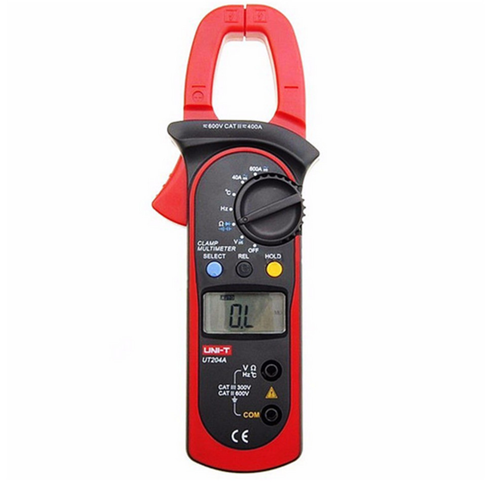 UNI-T UT204A 204 UT-204A Digital Clamp Meter Voltage AC DC Temperature Capacitor 600A Current Diode Auto Range Multimeter  vc6056d digital ac dc clamp meter 600a refrigerant special