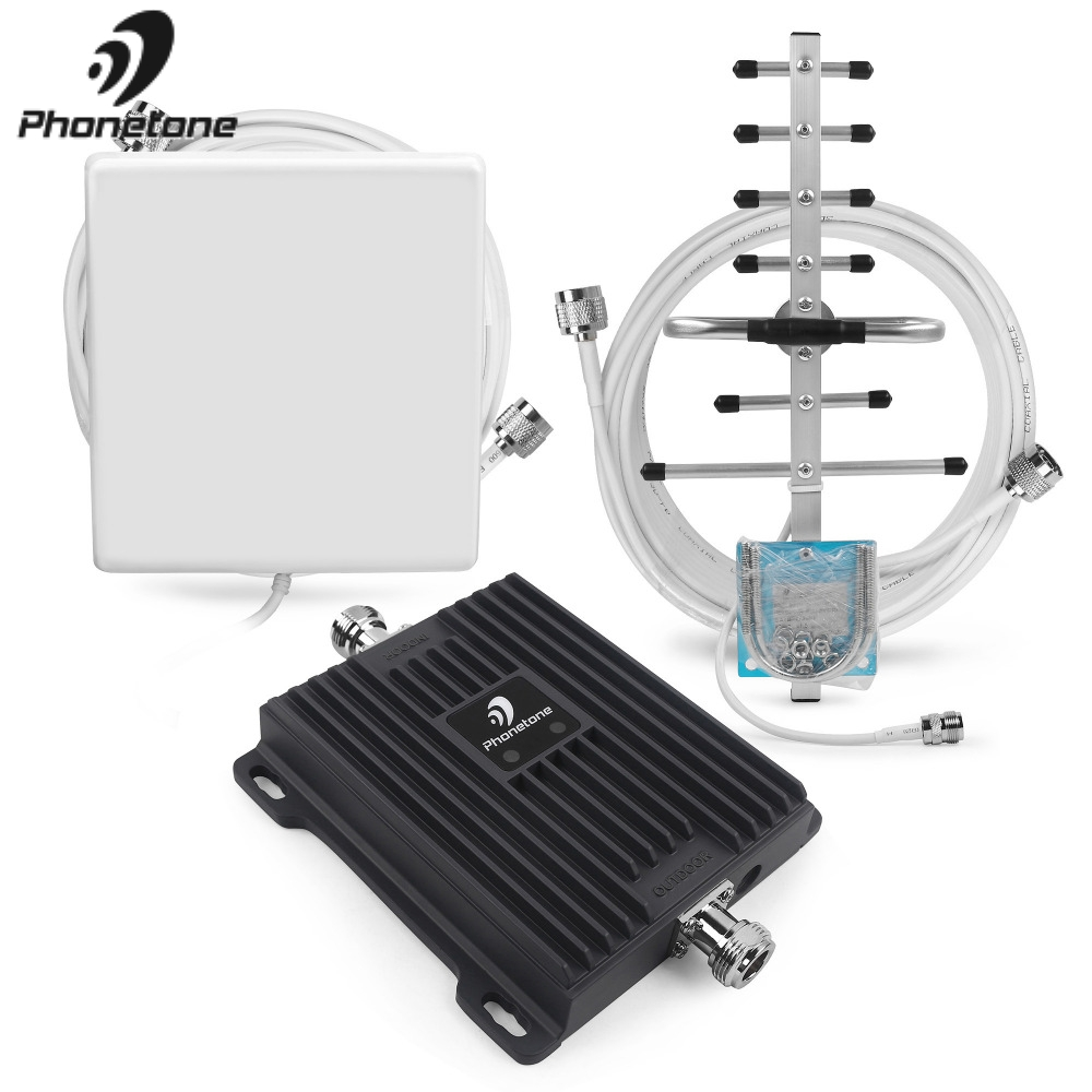 Amplificateur de Signal de téléphone portable 2G EGSM 900 MHz 3G WCDMA 2100 MHz Gain 65dB amplificateur répéteur de réseau GSM amplificateur + antennes Yagi - 3