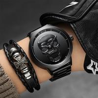 GIMTO NEW Skull Men Watches 2017 Luxury Brand Creative Watches Men Steel Quartz Watch Black Boys