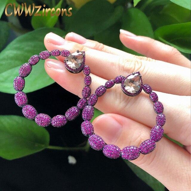Cwwzircon микро паве горячий розовый фианит камень черный золотой большой круглый Висячие серьги для женщин брендовые ювелирные изделия CZ563