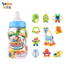 Yobee 10Pcs/set Baby safe Rattles Big Milk Bottle Hand Shake Bell Ring Toy Teether Product Educational Christening Gift