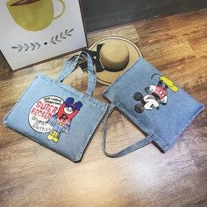 Image 3 - Disney Mickey Mouse Cartoon Large Capacity Shopper cowboy Shoulder bag lady handbag women shopping Leisure bag Fashion street