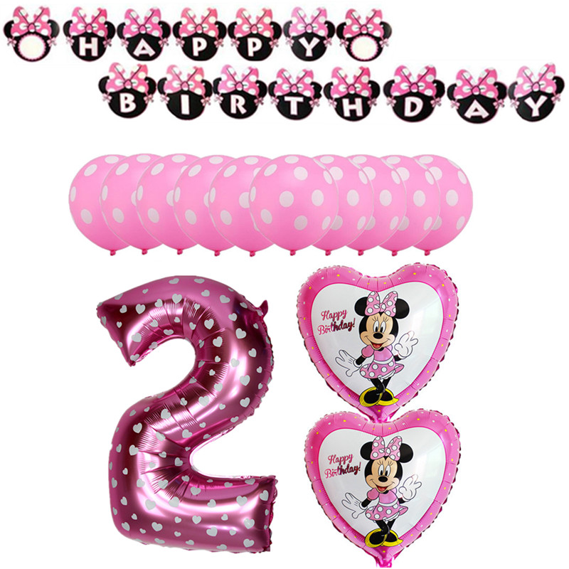 1set Cute Mickey Minnie Foil Balloons Children 1-9 Birthday Party Decorations Supplies Helium Globos Baloes Pink Minnie Ballons