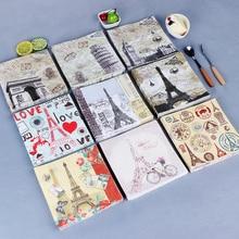 20 servilleta retro papel impreso flores Torre amor corazón mariposa bicicleta antorcha decoupage boda servilleta fiesta Decoración