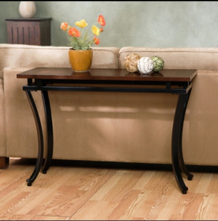 american modern wrought iron wood console table long table hall side Long Side Table