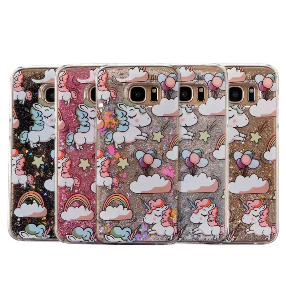 Cartoon Unicorn Horse Cover Dynamic Paillette Glitter Stars Water Liquid Case for Samsung Galaxy S5 S6 S7 S6edge S7edge Edge