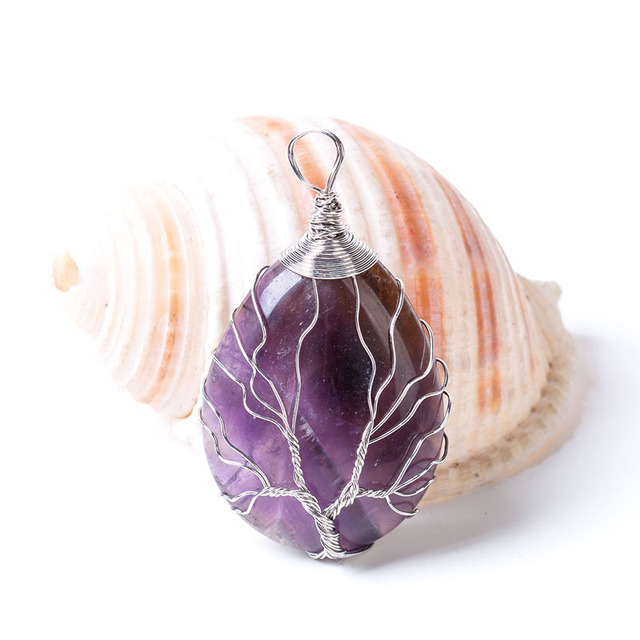 Natural Quartz Stone Pendants Handmade Tree